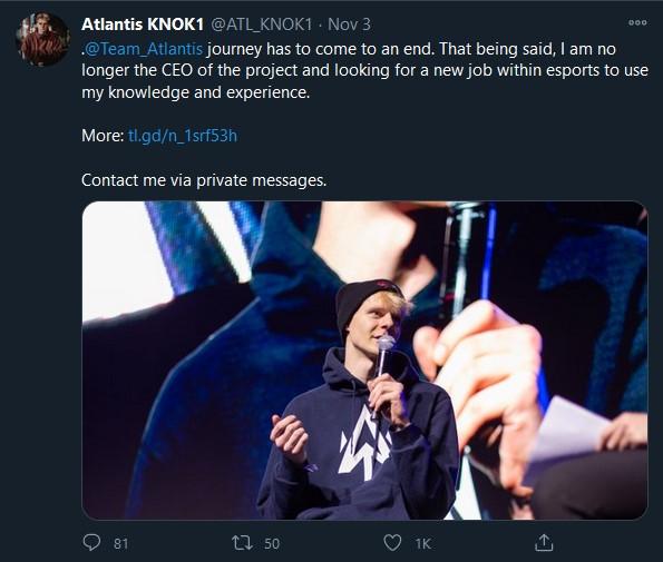 Team Atlantis Getting Disbanded KNOK1 Atlantis